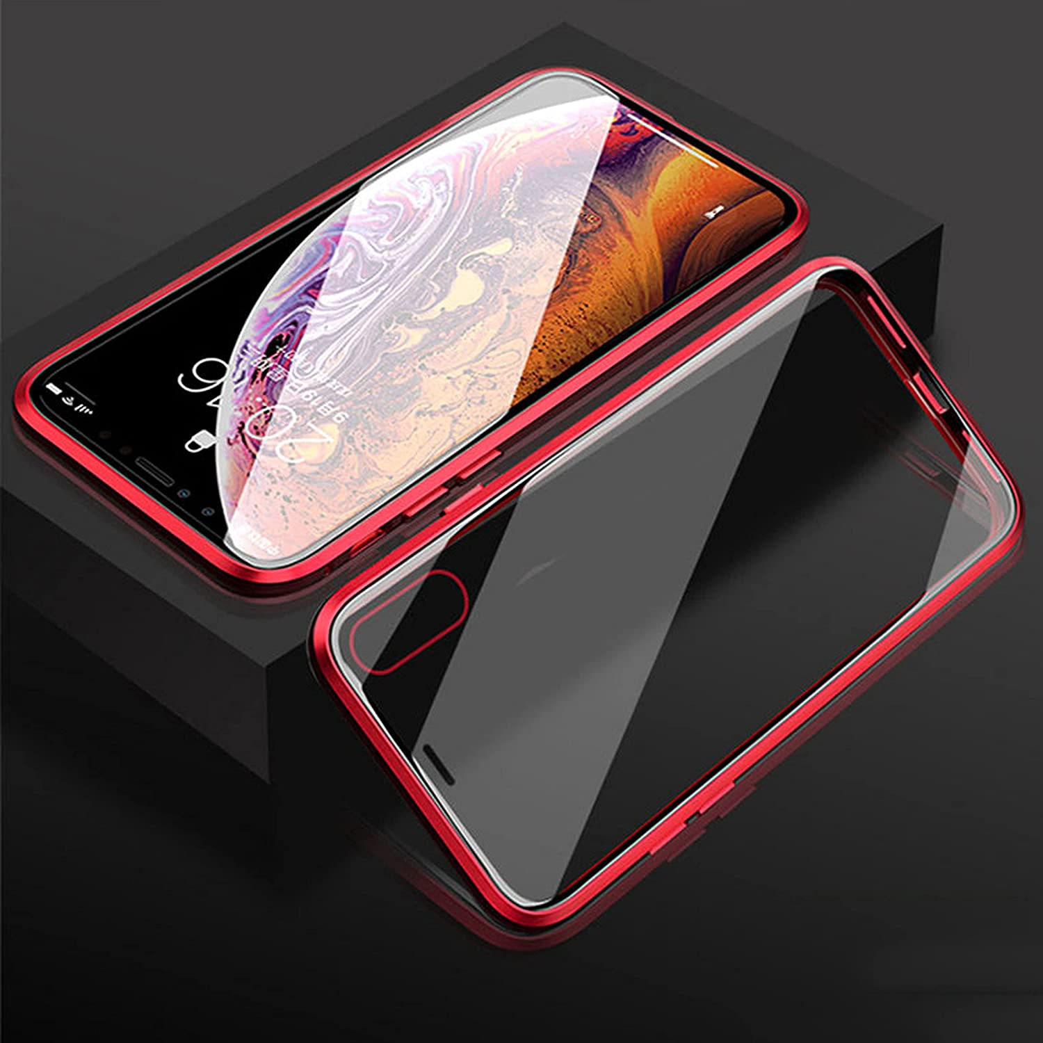 Compatible with iPhone 13/13Pro/13Pro Max/13Mini Shell Double-Sided 9H Tempered Glass Film Phone case + 360° Aluminum-Magnesium Alloy Frame Magnetic Closure Flip Phone Cover (Red,13Mini(5.4inch))