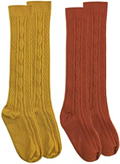 Girls Cable Knit Pattern Fashion Multicolor Knee High Socks 2 Pair Pack