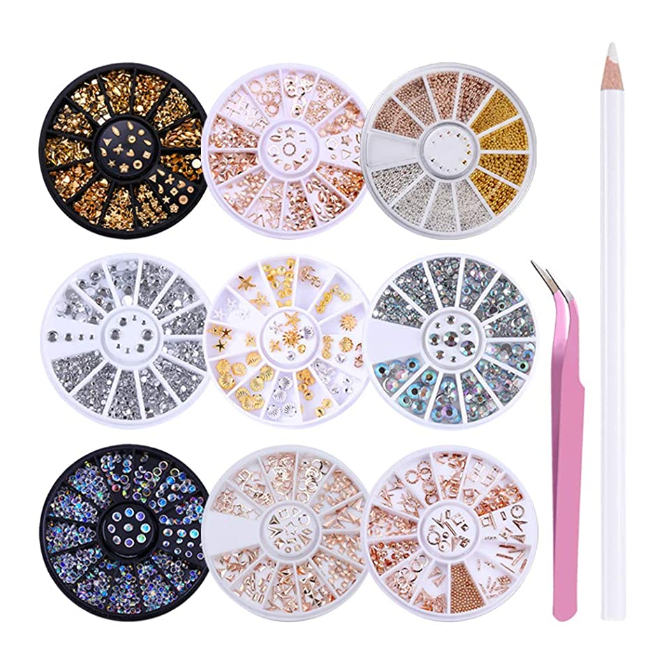 LILYCUTE Nail Art Rhinestones Nail Beads Gold Metal Studs Stone 3D Nail Decoration with Rhinestones Picker Pencil Tweezer Manicure Tools 9 Boxes