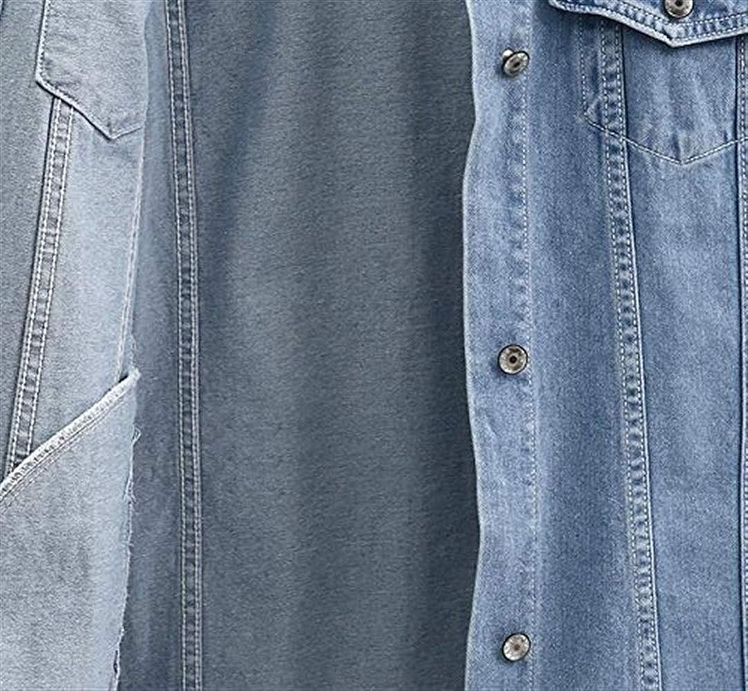 Jeansweste Damen Lang Vintage Mode Große Größen Jeansjacke Ärmellos Vest Revers Loose Lässig Elegante Mädchen Denim Weste Mantel Frühling Herbst Denimblau