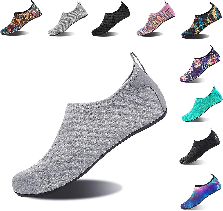 HMIYA Aqua Socks Beach Water shoes Barefoot Yoga Socks Quick-Dry Surf Swim shoes for Women Men (YH.Grey, 34 35EU)
