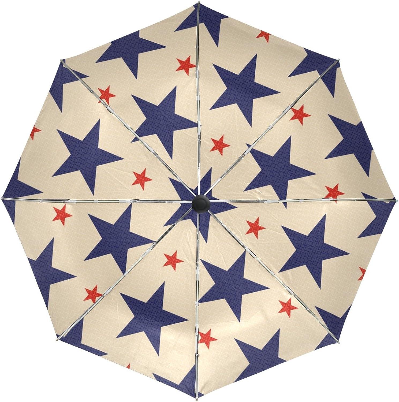 MASSIKOA Patriotic blueee Red Stars Windproof Foldable Rain Travel Canopy Umbrella Auto Open Close Button