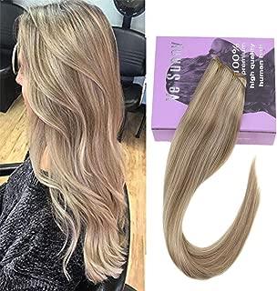 VeSunny 7A Grade Salon Quality Sew in Hair Weft Human Hair,Golden Blonde Highlights Medium Blonde Human Hair Extensions Weft Straight Remy Hair One Bundle 100g 22inch
