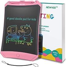 NEWYES Tableta de Escritura LCD 8,5 Pulgadas, Pantalla Colorida, con Tecla de Bloqueo, Imanes, Lápiz, Ideal para Niños y Adultos Uso en el Hogar, la Escuela y la Oficina (Rosa)