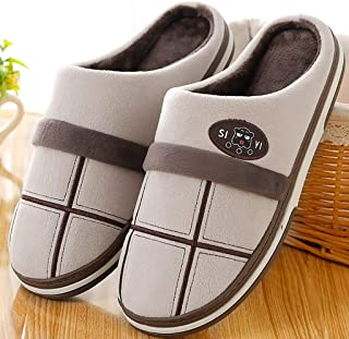 Sgfccyl Hommes Chaussons d'hiver Grande Taille 45-50 Mode Vichy Chaud Fourrure Chaussons Homme Court Peluche Accueil Chaus...