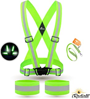 iRadiate Reflective Bands Reflector Running Gear - Adjustable Reflective Armband Arm Wrist Ankle Leg Band - Reflective Tape Strap for Clothing Biking and Safety Night Walking
