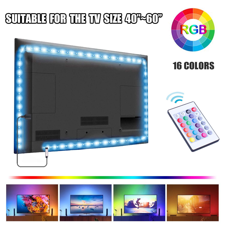 UTTORA Tira LED TV 2M, Tiras LED USB con Control Remoto, 16 RGB Colores y 4
