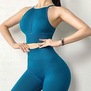 Sportswear Seamless Women Sport Suit Gym Gather Bra Breathable Fitness Vest and Scrunch Butt Leggings Yoga Set (Color : Bl...