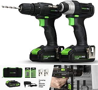 comprar comparacion GALAX PRO-Kit Combinado Taladro Atornillador, Atornillador Impacto, 20V Baterias 1.3Ah con Cargador, 2 Velocidades, Luz de...
