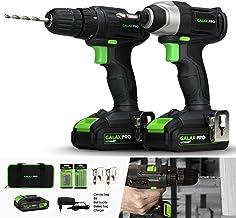 GALAX PRO-Kit Combinado Taladro Atornillador, Atornillador Impacto, 20V Baterias 1.3Ah con Cargador, 2 Velocidades, Luz de trabajo LED, 2 x Hebillas de Cinturón, Bolsa de Transporte/GPD6001