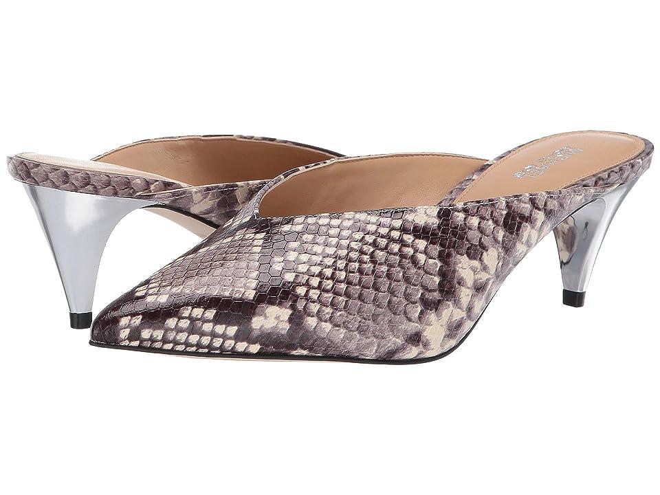MICHAEL Michael Kors Cambria Mule (Natural Embossed Printed Snake/Galvanized Heel) High Heels