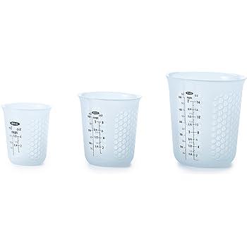 OXO Good Grips 3 Piece Squeeze & Pour Silicone Measuring Cup Set,Blue,3 Piece Set
