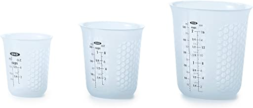OXO Good Grips 1-Cup Squeeze & Pour Silicone Measuring Cup with Stay-Cool Pattern 3 Piece Set Blue