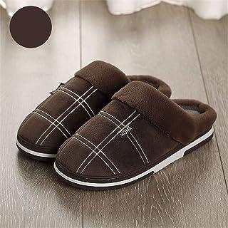 LCYCN-Cotton Slippers Grande Taille pour Homme en Peluche Pantoufles en Polaire, Anti-Slip Maison Chaussons, Automne Hiver...