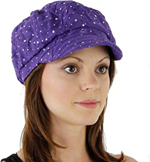 Greatlookz Fashion Glitter Sequin Trim Newsboy Style Relaxed Fit Cap
