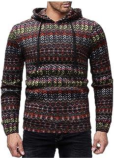 WUFAN Men's Folk Style with Hood Printed Long Sleeve Sweatshirt Top