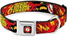 Buckle-Down Dog Collar Seatbelt Buckle The Flash Boom Kaboom Available in Adjustable Sizes for Small Medium Large Dogs