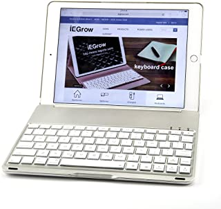 New iPad 2018 Keyboard Case, iEGrow New F8S 7 Colors LED Backlit iPad Keyboard with Protective Case Cover for iPad 6th Generation/iPad 5th Generation/iPad Air(Silver)