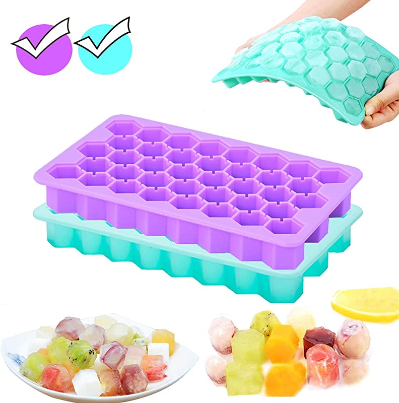 Bochionyu Ice Cube Trays 2 Pack 76 Pieces Reusable Silicone Ice Cube Molds Easy Release Fun Honeycomb Shapes Ice Tray BPA Free For Whiskey Baby Food Wine Cocktails Drinks Purple Cyan