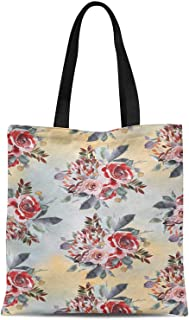 S4Sassy Blue Leaves & Alba Rose Floral Printed Canvas Large Tote Bag for Beach Shopping Groceries Books 16x12 Inches