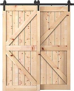 Penson & Co. 6.6 FT Bypass Sliding Barn Door Hardware Kit Double Wood Doors One-Piece Rail Track Kit (Black)