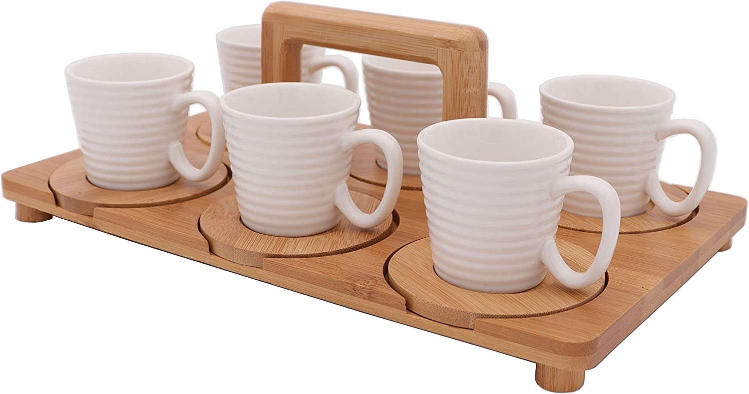 Max 67% OFF Sale price white porcelain espresso cups with and tray bamboo saucers wood