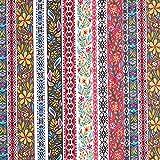 Chiffon Folklore Streifen – blau/pink — Meterware ab