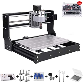 Upgrade Version CNC 3018 Pro GRBL Control DIY Mini CNC Machine, Wood Router Engraver with Offline Controller + ER11 and 5mm Extension Rod + 20PCS CNC Router Bits + 4 Sets CNC Plates