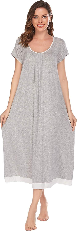 Ekouaer Women O-Neck Short Sleeve Nightgown Pleated Patchwork Loose Sleepwear, 9173-grey, Large