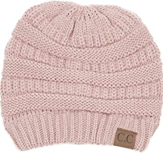 BYSUMMER Warm Soft Cable Knit Skull Cap Slouchy Beanie Winter Hat (Indi Pink)