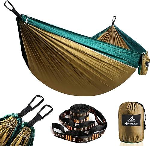 NatureFun Hamaca ultraligera para camping| 300kg de capacidad de carga, (275 x 140 cm) Estilo paracaídas de Nylon, tr...