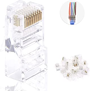 VCE 100 Pieces Cat6 RJ45 Pass Through Connectors, 3 Prong Gold Plated Ethernet 50u EZ Crimp Modular Plugs for Solid or Stranded UTP Cable,UL Listed