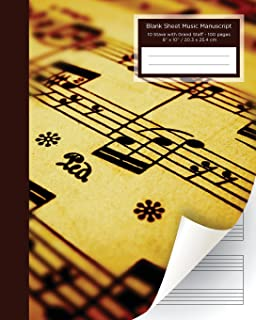 Blank Sheet Music Manuscript: 10 Stave with Grand Staff - 100 pages 8