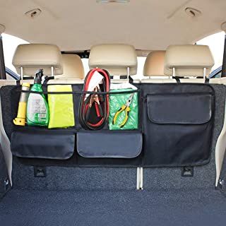 HAOTOM Car Backseat Trunk Organizer Storage Bag High Capacity Multi-use Adjustable Straps Oxford SUV Trunk and Seat Back Cargo Organizers