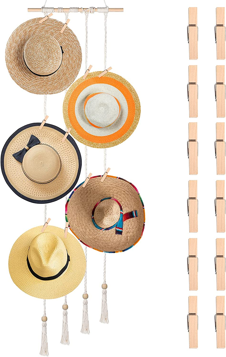 Bohemian Hat Holder Purchase with 12 Recommended Pieces Rack Sto Clips Wooden