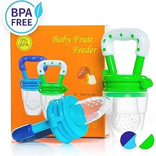 Dream on - Chupete alimentador de alimentos para bebés, 2 unidades, alimentador de frutas, el mejor mordedor para bebés con bolsas de silicona para alimentos, colores estimulantes