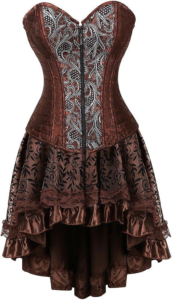 frawirshau Steampunk Corset Dresses 流行のアイテム Costumes 爆売り Halloween Women for