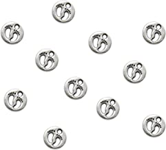 Buorsa Pack of 100 Antiqued Silver Baby Footprint Charms Pendants for Jewelry Making DIY