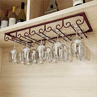 FURVOKIA Under Cabinet Floating 5 Slots Metal Wine Glass Rack,Retro Organizer Storage Shelf,Goblet Drying Holder for Kitchen Office,Holds up to 10-15 Cup Glasses (Red Copper, 20