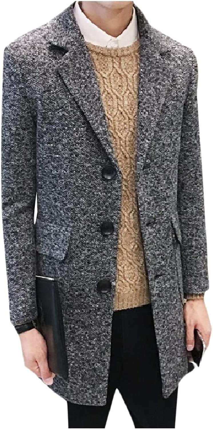 Tootca Men's Casual Blended Relaxed-Fit Lapel with Pockets Worsted Coat