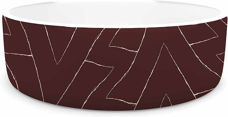 KESS InHouse Julia Grifol Brown Triangles Maroon Pattern Pet Bowl, 7