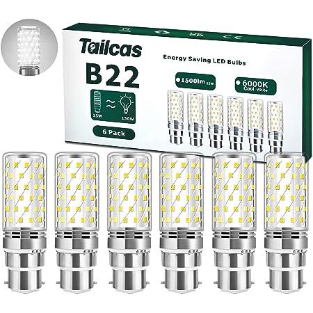 Ampoules LED B22 15W, Équivalent Ampoule Incandescence 150W, 30*93mm, Non Dimmable Sans Scintillement Standard Culot B22, 6000K, AC 230V pour Éclairage de Plafond, Paquet de 6 (Blanc Froid)