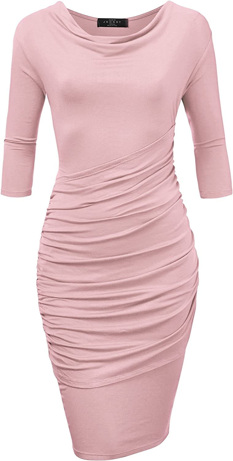 Come Together California CTC Womens Deep V Neck 3 4 Sleeve Tulip Bodycon Dress  Made in USA