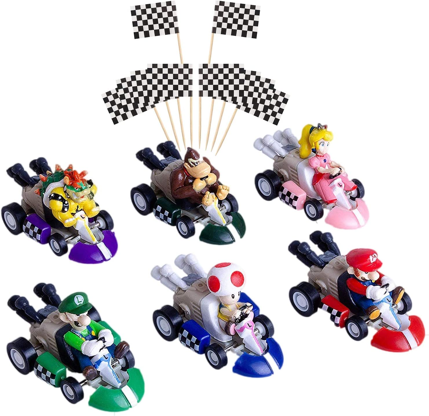 POQUAN 6 Pcs Mini Mario Kart Pull Back Cars Cake Topper Figures Toy Set (2
