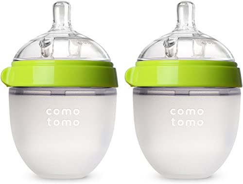 Comotomo Baby Bottle, Green, 5 Ounce (2 Count)