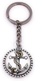 H-Customs Ankare med rep på vitt i cirkeln nyckelring hänge av metall