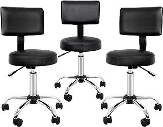 SUPER DEAL Newly Designed Adjustable Medical Salon Stool with Backrest Beauty Salon Swivel Massage Lift Manicure Chair (3PC)
