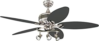 Westinghouse Lighting 7234220 Xavier II 52-Inch Five-Blade Indoor Ceiling Fan with Three Spot Lights, Brushed Nickel with Gun Metal Accents