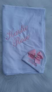 Newborn Girl Coming Home Personalized Swaddling Blanket Beanie Layette Set Baby Girl Shower Gifts Newborn Hospital Outfit Baby Shower Gift Keepsake
