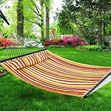 Nova Microdermabrasion Updated Quilted Fabric Hammock with Pillow Double Size Spreader Bar Heavy Duty Portable Outdoor Camping Hammock for Outdoor Patio Yard (480lbs Capacity) (Yellow)